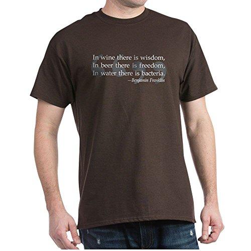 CafePress Ben Franklin Beer Quote T Shirt 100% Cotton T-Shirt Brown