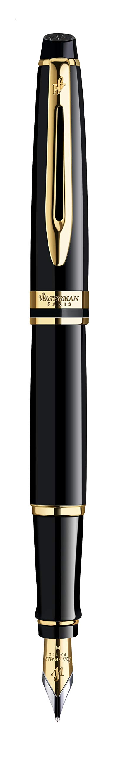 Waterman Expert Fountain Pen, Gloss Black with 23k Gold Trim, Medium Nib with Blue Ink Cartridge, Gift Box by Prismacolor (Image #5)