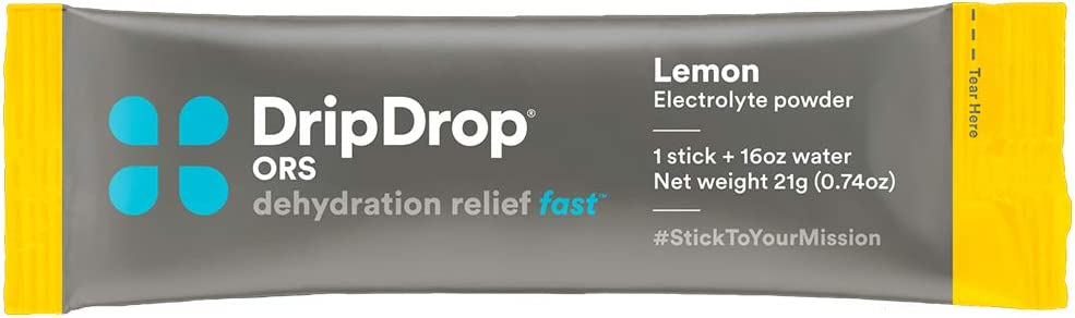 DripDrop ORS - Value Pack - Patented Electrolyte Powder For Dehydration Relief Fast - For Workout, Sweating, Illness, & Travel Recovery - Lemon - 80 x 16oz Servings