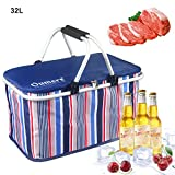 Picnic Insulated Bag, Oumers 32L Large Size Insulated Picnic Basket - BBQ Meat Drinks Cooler Bag -Folding Collapsible Cooler Basket for Family Vacations Parties Outdoor Travel, Keep Food Cold Storage