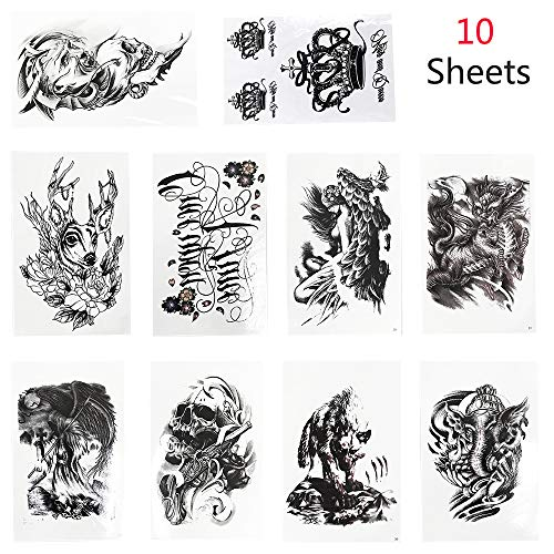 Jurxy Temporary Tattoos Stickers 10 Sheets Large Fake Paper Body Tattoo Sticker Waterproof Tattoo for Men Women -Animals Skull Crown Dragon Deer Kit 4