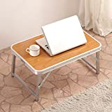 PENGFEI Portable Standing Desk Laptop Computer Stands Multifunction Foldable Aluminum Alloy Bed Study Table College Students 2 Colours 60x40x28CM (Color : Bamboo Color)