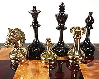 Real Brass Metal Staunton Bridled Knight Chess Men Set Gold and Black Chrome - NO Board