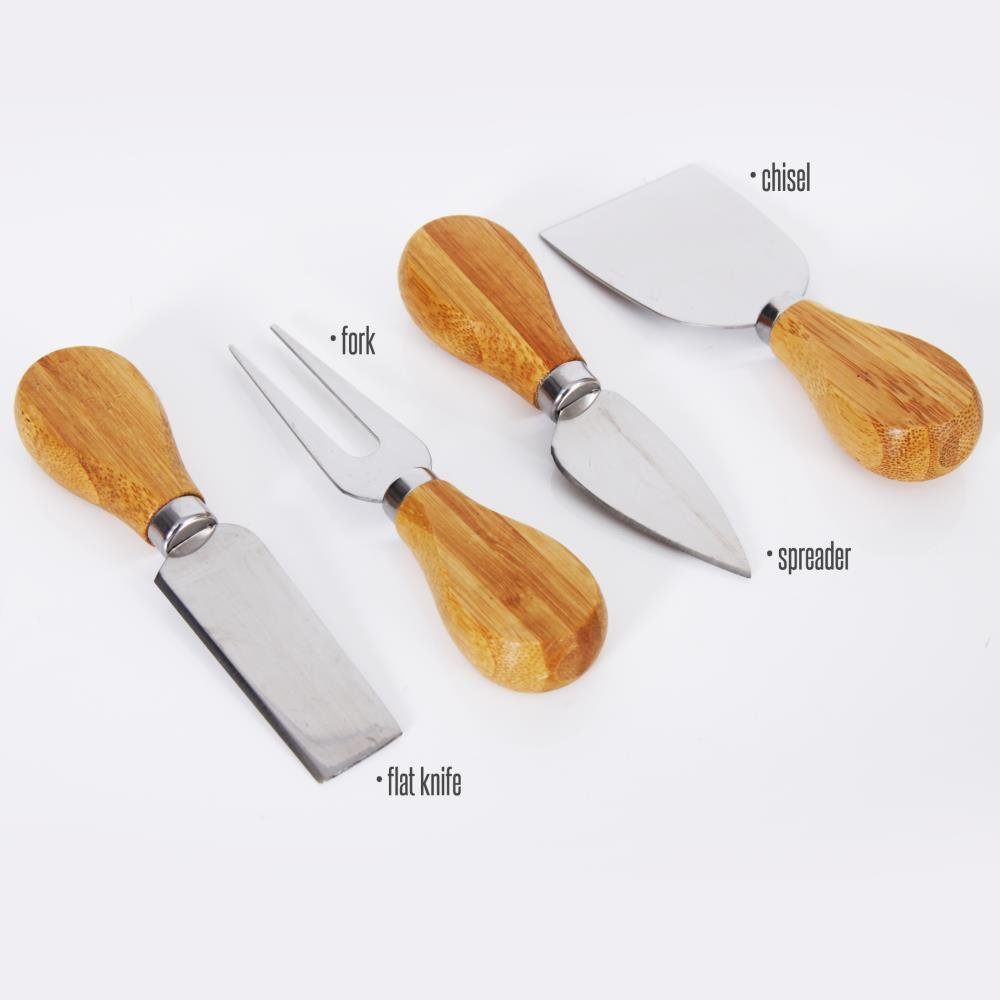 Bamboo Cheese Cutting Board Set - Bonus Condiment Cup - Closing Drawer Tray, 4 Stainless Steel Knives - Flat Wood Rectangle Serving Platter Plate Kit Fruit Meat - NutriChef by NutriChef (Image #5)