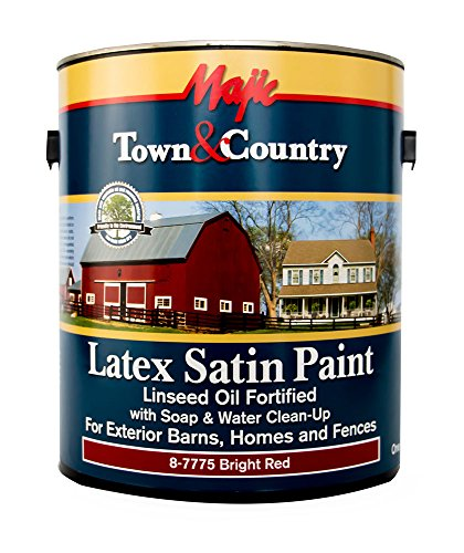 Majic Paints 8-7775-1 Town & Country Exterior Latex Satin Paint, 1 gallon (128 oz), Satin Bright Red ()