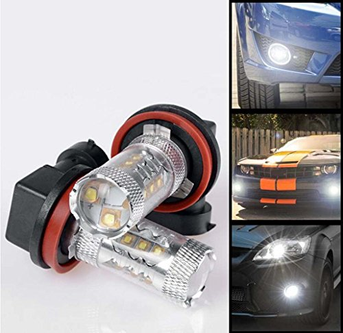 GlobeLED 2 X HID 7000K H11 DRL Fog Light LED 80W Projection Super Bright Cool White Bulbs