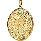Oval Locket with Rose & Diamond in 14k Yellow Gold
