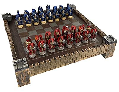 "Medieval Dragon Gothic Fantasy Red & Blue Chess Set w/ 17 1/2"" Castle Fortress Board"