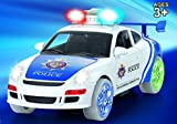 Haktoys Battery Operated Bump & Go Action Police Car with Lights and Siren Sound