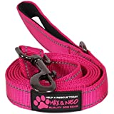 """Max and Neo Reflective Nylon Dog Leash - We Donate a Leash to a Dog Rescue for Every Leash Sold (Pink, 6 FT x 1"""")"""