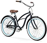 "sixthreezero Women's 3-Speed Beach Cruiser Bicycle, Classic Dark Blue w/Brown Seat/Grips, 26"" Wheels/17 Frame"