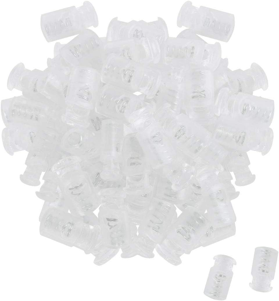 Clear uxcell 100pcs Plastic Cord Locks Stopper End Spring Stop Single Hole Toggle Fastener Stopper Rope End for Drawstrings Clothing Bags Camping Shoelaces