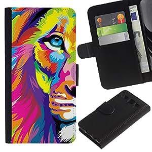 APlus Cases // Samsung Galaxy S3 III I9300 // León Cartel arte colorido vibrante Magenta // Cuero PU Delgado caso Billetera cubierta Shell Armor Funda Case Cover Wallet Credit Card