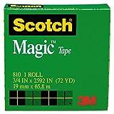 Scotch 810342592 - Magic Office Tape, 3/4 x 72 yards, 3 Core, Clear