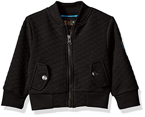iXtreme Baby Boys Diamond Quilted Knit Bomber, Black, 12M Baby Bomber Jacket