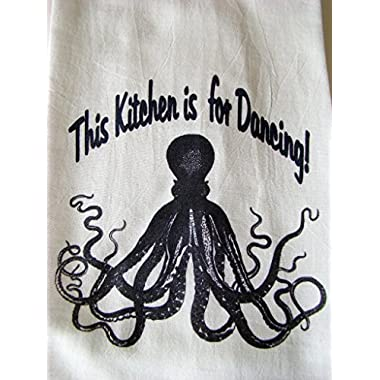 Octopus print kitchen flour sack towel, This Kitchen is for Dancing  Kitchen Towel - Flour sack printed kitchen towel