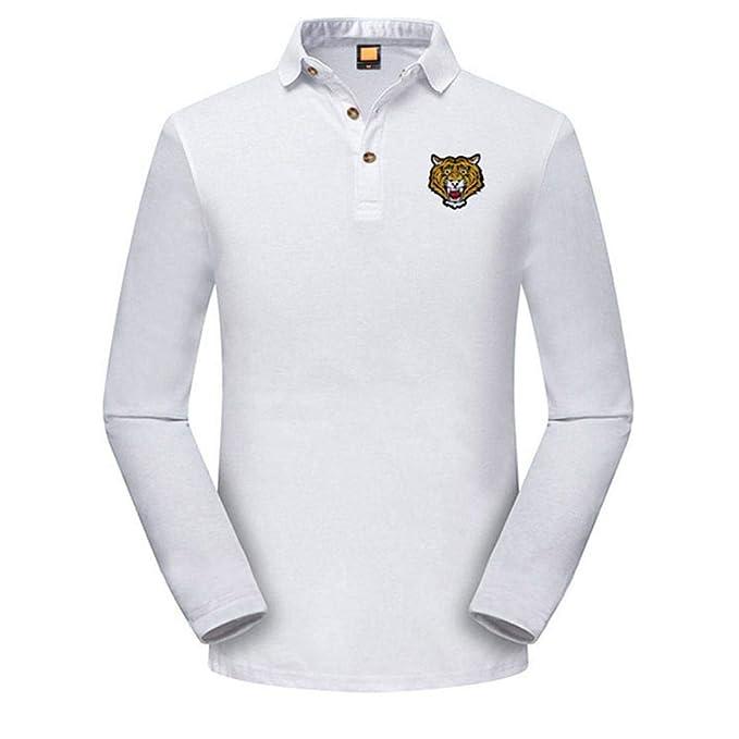 Camisa Bordado Delgado, Covermason Blusa de Polo de Moda Casual Bordada Delgada Blanco