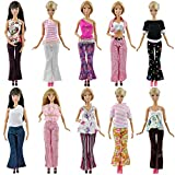 E-TING 20 artículos = 5 ropa 5 pantalones 10 zapatos trajes decorados para la muñeca Barbie estilo al azar