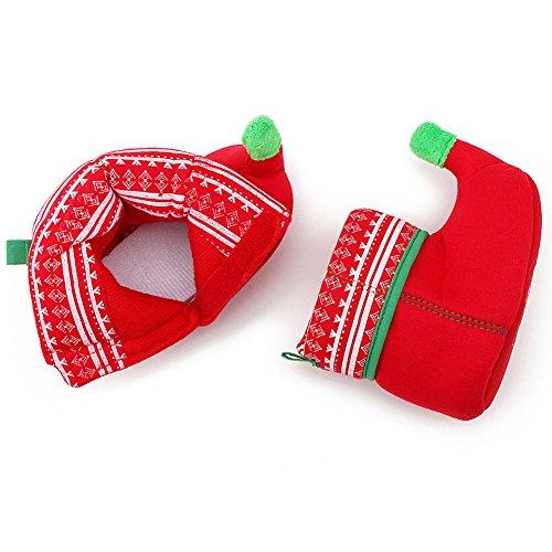 Itaar Botas para Bebé Primera Navidad Diseño de Duende Primeros Pasos Botas para Niños y Niñas rojo