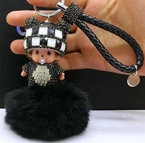 [2016 new Monchichi keychain 8cm real rabbit fur pom pom Crystal Monchichi Dolls pompom Key ring lady bag car pendant wholesale (Color: Black&White)] (Nissan Pathfinder Carriage)