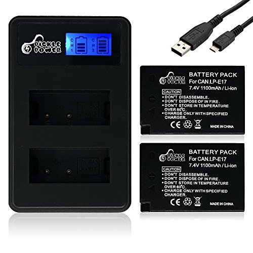 Pickle Power 2 Pack Compatible Canon LP-E17 Battery and Dual LCD Charger for Canon EOS M3 M5 M6 Rebel SL2 T6i T6s T7i 200D 77D 760D 750D 8000D 800D Kiss X8i 1100mAh LPE17