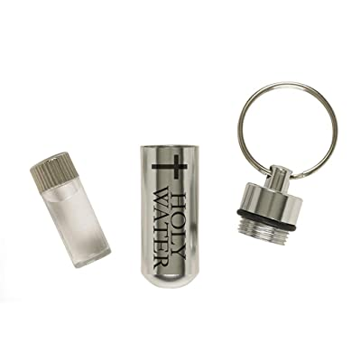 "Travel Holy Water Bottle 2"" Aluminum Tube with 1 ml Plastic Vial on Key Chain: Everything Else"