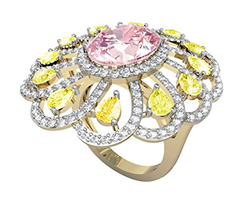 Ethereal Kunzite & Yellow Sapphire Cocktail Ring in 14k Yellow Gold Partly Rhodium Plated