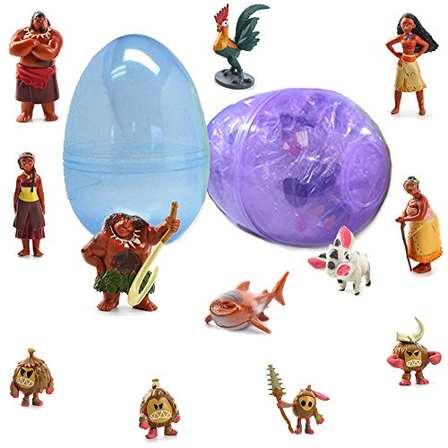 1 Toy Filled Jumbo Easter Egg With 12 Moana Figurines Inside