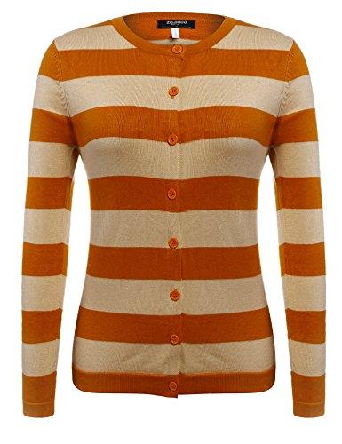 Zeagoo Women Button Down Long Sleeve Stripe Soft Knit Cardigan Sweater,Orange,X-Large (Orange Stripe Shirt)