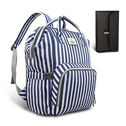 Pipi bear Diaper Bag Travel Backpack Large Capacity Tote Shoulder Nappy Bag Organizer for Baby Care with Insulated Pockets,Waterproof Fabric (Striped-Blue White)