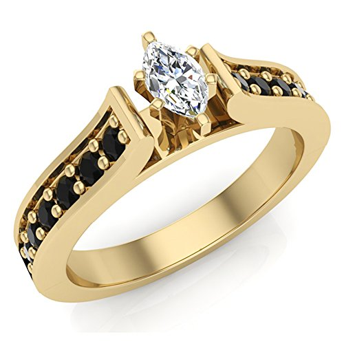Black & White Diamond Marquise Engagement Ring 0.50 Carat Total 14K Yellow Gold (Ring Size 7.5)