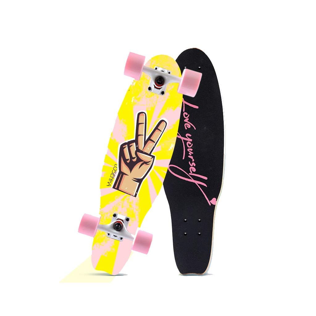 HXGL-Skateboards Small Fish Plate Brush Street Professional Skateboard Board Travel Youth Children Adult Boys and Girls Big Fish Board - Victory Gesture (Size : L)