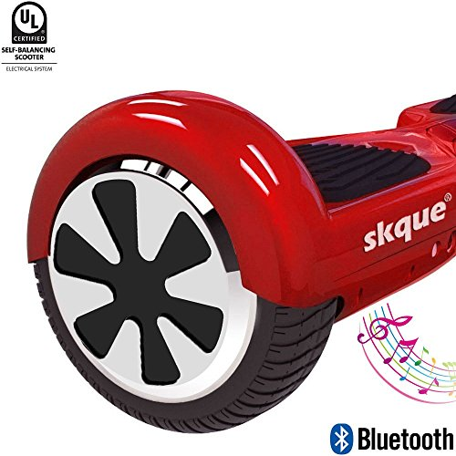 "Self Balancing Scooter (MAX 220 lbs), Skque 6.5"" I1.2 UL2272 Smart Two Wheel Self Balancing Electric Scooter with Bluetooth Speaker and LED Lights, Red"