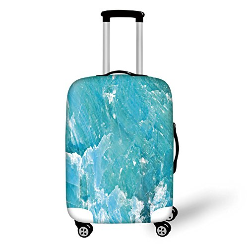 - Travel Luggage Cover Suitcase Protector,Marble,Artful Mineral Crystal Motif Mine Old Stone Pattern in Vibrant Tones Print,Light and Sky Blue,for Travel