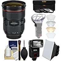 Canon EF 24-70mm f/2.8 L II USM Zoom Lens with Flash + Softbox + Diffuser + 3 Filters Kit for EOS 6D, 70D, 7D, 5DS, 5D Mark II III, Rebel T5, T5i, T6i, T6s, SL1 Camera