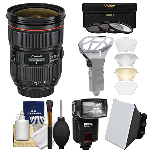 Canon EF 24-70mm f/2.8 L II USM Zoom Lens with Flash + Softb
