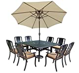 Cheap Oakland Living Vanguard 11-Piece Furniture Set with 60 by 60-Inch Square Table, 8 Sunbrella Cushioned Stackable Chairs, 9-Feet Tilt and Crank Beige Umbrella and Stand