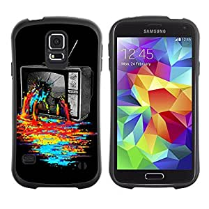 Hybrid Anti-Shock Bumper Case for Samsung Galaxy S5 / Cool TV Colors Art