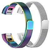 bayite For Fitbit Alta HR and Alta Bands Pack of 2, Replacement Milanese Loop Stainless Steel Metal Bands Women Men, Silver and Pearlescent 5.5'' - 6.7''
