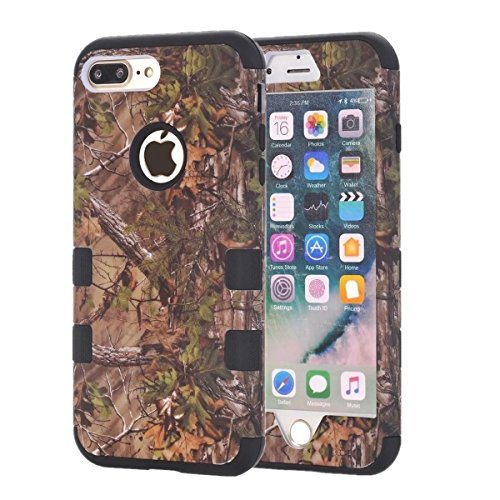 Apple iPhone 8 Camo Tree Camoflauge Real Hunting 3 Piece Snap On Extreme Durable Defender Heavy Duty Drop Protection Shockproof Luxury Protective Thick Cover [Hard Case] By Tech Express (Black)