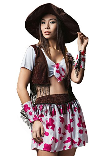 Adult Women Cowgirl Halloween Costume Wild West Rodeo Star Dress Up & Role Play (One size fits most, brown, pink, (Wild West Sheriff Cowgirl Costume)