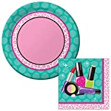 Sparkle Spa Dessert Napkins & Plates Party Kit for 8