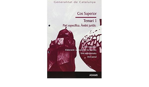 Cos Superior Generalitat De Catalunya àmbit Jurídic Dret Estatutari Elaboració I Aplicació De Les Normes Dret Administratiu Dret Penal Temari De La Parte Específica 1 Catalan Edition 9788499430713 Books