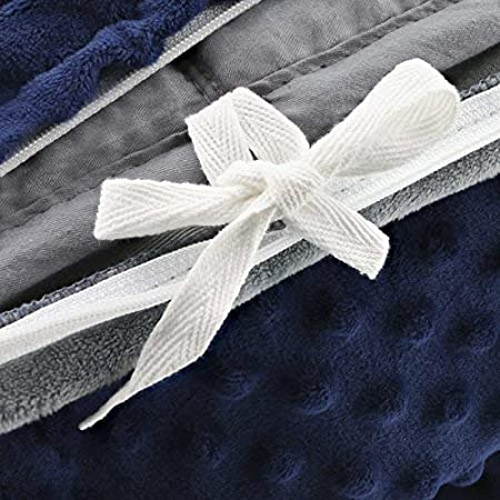 Sonno Zona Weighted Blanket Adult Size for Natural Calm Blankets Made from Relaxation Sleep Fabric Navy 36 x 48-5 Pound