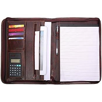 leathario padfolio business resume portfolio file folder document organizer with secure zippered closure interior 12