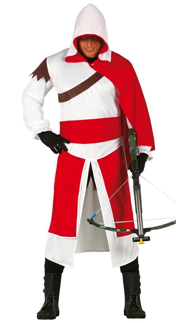 Mens Red/White Assassin Warrior Ninja Game Stag Fancy Dress ...
