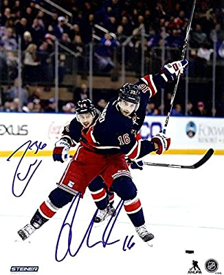 New York Rangers Mats Zuccarello And Derick Brassard Autographed 8x10 Photograph (Zucc. & Brass.)