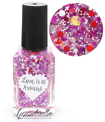 Lynnderella Valentines Day Pink and Red Multi Glitter Nail Polish-Love Is All Around