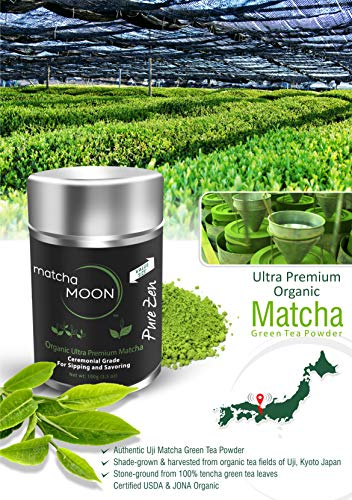 Matcha Moon - Organic Ceremonial Grade Japanese Matcha Green Tea Powder from Uji Kyoto Japan - Authentic, Premium, USDA Certified - Best For Traditionally Whisked Tea - Pure Zen - Value Size 100g Tin by Matcha Moon (Image #1)