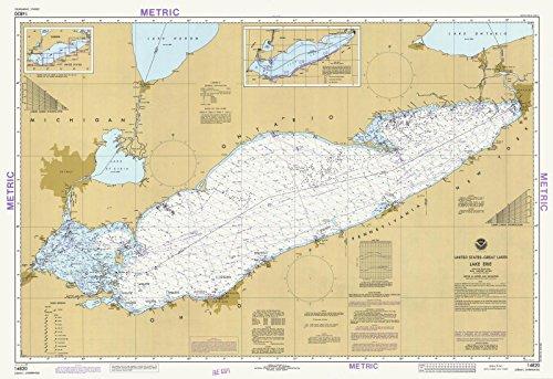 Map - Lake Erie, 1983 Nautical NOAA Chart - Pennsylvania, Ohio, New York, Michigan (PA, OH, NY, MI) - Vintage Wall Art - 24in x 16in (Depth Erie Lake Chart)